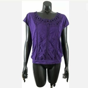 Chicos Purple Embroidered Tee Shirt